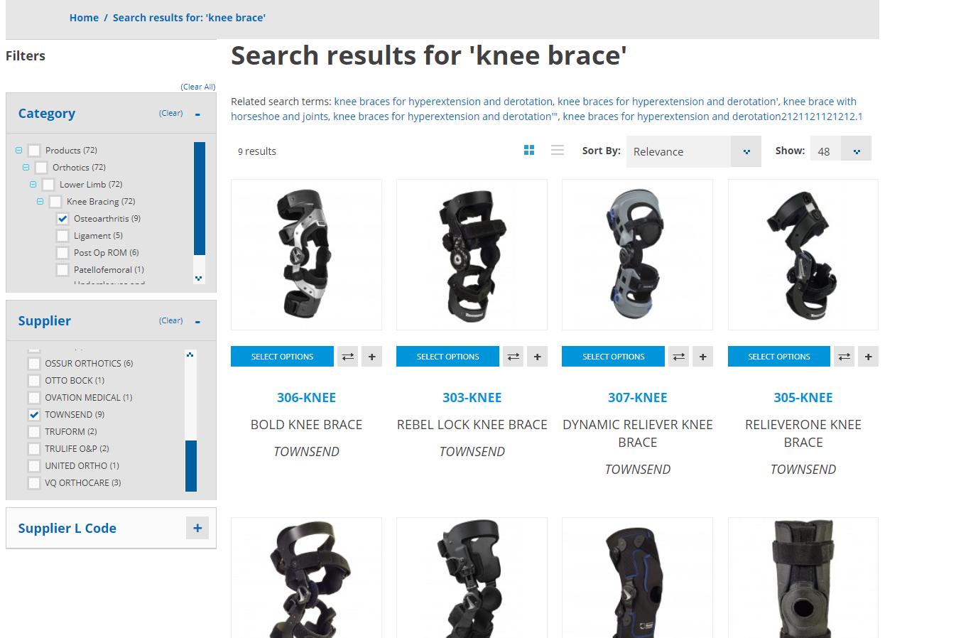 knee brace filter by supplier - townsend