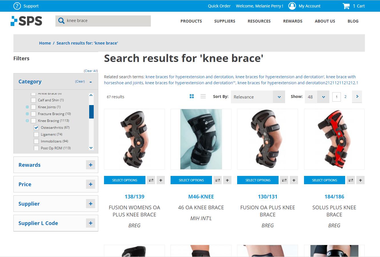 knee brace sort by cat - OA