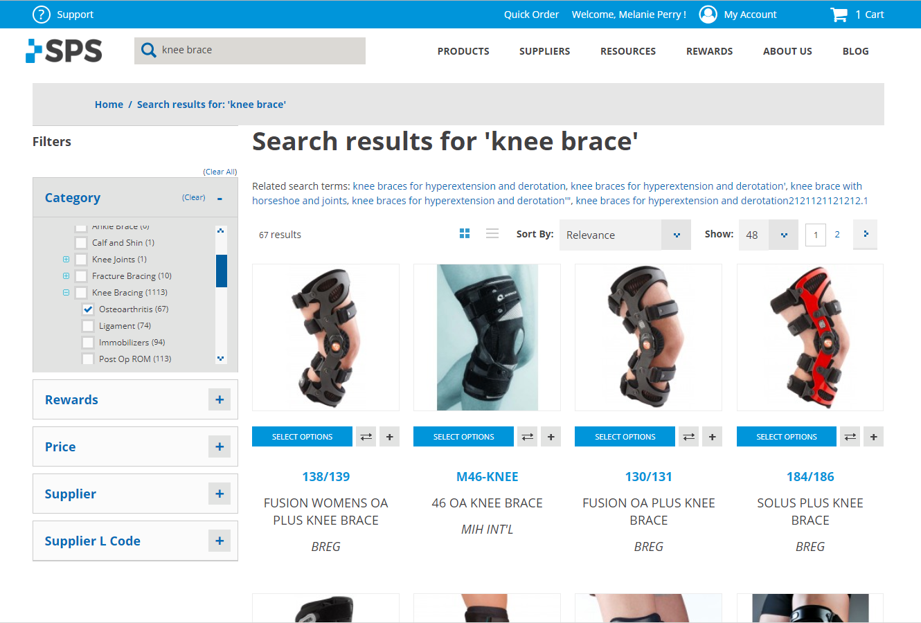knee brace sort by cat - OA